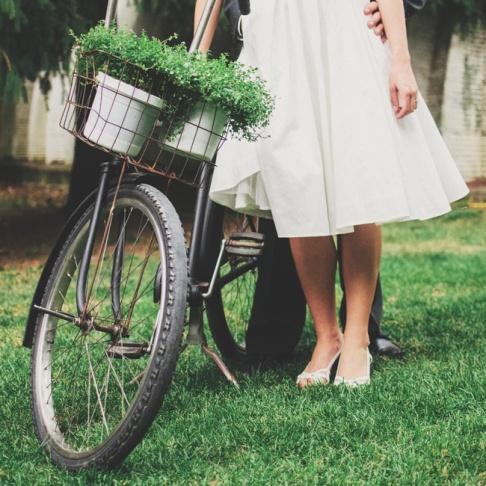 man girl bike